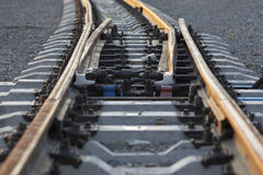 Lines in nowhere. Railway lines lead in nowhere royalty free stock photography