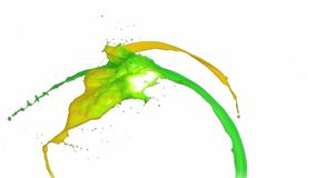 Lines of paint in super slow motion merging. In super slow motion stock footage