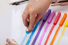 Lines painted pastel on white paper Royalty Free Stock Photography
