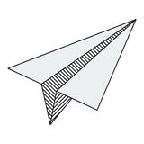 Lines paper airplane. Flat vector cartoon illustration. Objects isolated on a white background Royalty Free Stock Photos
