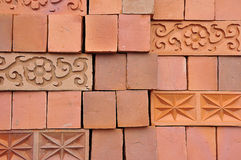 Lines and patterns from stacked red clay bricks. Thailand royalty free stock photos