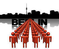 Lines of people with Berlin skyline Royalty Free Stock Photography