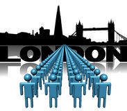 Lines of people with London skyline Royalty Free Stock Image