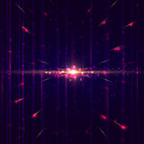 Lines in perspective with bright lights, particles and glowing dots. Technology digital background. Lines in perspective with bright lights, particles and stock illustration