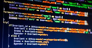 Lines of php code on the screen, extreme close-up. royalty free stock photo