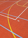 Lines on the pitch. Lines of multipurpose school playground designed for volleyball, basketball and tennis Stock Photos