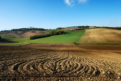 Lines in plowed fields Royalty Free Stock Photography