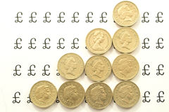 Lines of pound coins Royalty Free Stock Image