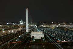 Lines of power. Washington, DC at night with major monuments and Capitol building royalty free stock image