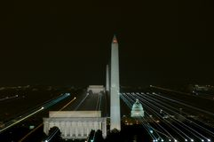 Lines of power. Washington, DC at night with major monuments and Capitol building stock image