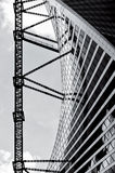 The lines of progress. Black and white photo of the construction of the Evolution Tower, a skyscraper in the IMBS Moscow-City, Moscow. The tower is famous for Stock Image