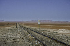 Lines, railway with signal Royalty Free Stock Photo
