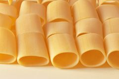 Lines of raw pasta stock photography