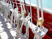 Lines on Sailboat. Lines tied up on a Sailboat Royalty Free Stock Photos
