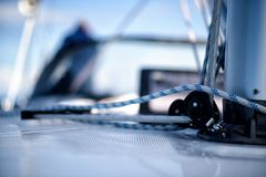 Lines on a sailing yacht. Lines on the deck of a sailing yacht sailing on the ocean Royalty Free Stock Image