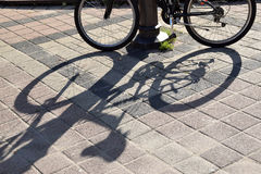 The lines and shadows on concrete of bicicle royalty free stock photo