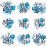 Lines and shapes abstract  isometric 3d backgrounds. Layou Royalty Free Stock Images