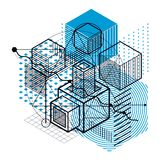 Lines and shapes abstract vector isometric 3d background. Layout Stock Photos
