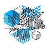 Lines and shapes abstract vector isometric 3d background. Layout Royalty Free Stock Photo
