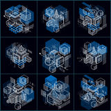 Lines and shapes abstract vector isometric 3d backgrounds. Layou Stock Photo