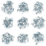 Lines and shapes abstract vector isometric 3d backgrounds. Layou Stock Image