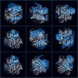 Lines and shapes abstract vector isometric 3d backgrounds. Layou Royalty Free Stock Images