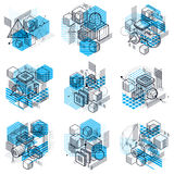 Lines and shapes abstract vector isometric 3d backgrounds. Layou Royalty Free Stock Image
