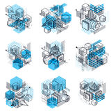 Lines and shapes abstract vector isometric 3d backgrounds. Layou Royalty Free Stock Photo