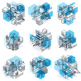 Lines and shapes abstract vector isometric 3d backgrounds. Layou Royalty Free Stock Photos