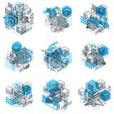 Lines and shapes abstract vector isometric 3d backgrounds. Layou Stock Photography