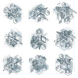 Lines and shapes abstract vector isometric 3d backgrounds. Layou. Ts of cubes, hexagons, squares, rectangles and different abstract elements. Vector collection Royalty Free Stock Image