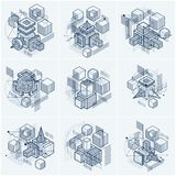 Lines and shapes abstract vector isometric 3d backgrounds. Layou. Ts of cubes, hexagons, squares, rectangles and different abstract elements. Vector collection Stock Photo