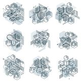 Lines and shapes abstract vector isometric 3d backgrounds. Layou. Ts of cubes, hexagons, squares, rectangles and different abstract elements. Vector collection Royalty Free Stock Photo