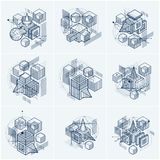 Lines and shapes abstract vector isometric 3d backgrounds. Layou. Ts of cubes, hexagons, squares, rectangles and different abstract elements. Vector collection Stock Images