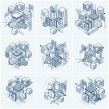Lines and shapes abstract vector isometric 3d backgrounds.  Royalty Free Stock Photography