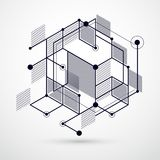 Lines and shapes abstract vector isometric 3D black and white ba. Ckground. Abstract scheme of engine or engineering mechanism. Layout of cubes, hexagons Stock Photos