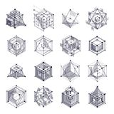 Lines and shapes abstract vector isometric 3D black and white ba. Ckgrounds set. Abstract scheme of engine or engineering mechanism. Layout of cubes, hexagons Stock Photography