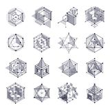 Lines and shapes abstract vector isometric 3D black and white ba. Ckgrounds set. Abstract scheme of engine or engineering mechanism. Layout of cubes, hexagons Stock Images