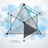 Lines and shapes abstract vector isometric 3D blue background. A. Bstract scheme of engine or engineering mechanism. Layout of cubes, hexagons, squares Royalty Free Stock Photos