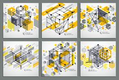 Lines and shapes abstract vector isometric 3D yellow backgrounds. Set. Abstract scheme of engine or engineering mechanism. Layout of cubes, hexagons, squares stock illustration