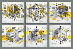 Lines and shapes abstract vector isometric 3D yellow backgrounds. Set. Abstract scheme of engine or engineering mechanism. Layout of cubes, hexagons, squares Stock Photo