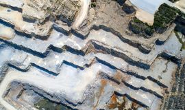 Aerial photo of a stone quarry in La Roche Bernard. Lines and shapes in La Clarte stone quarry, in La Roche Bernard Stock Image