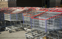 Lines of shopping carts Stock Image