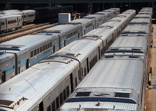 Lines of Silver Subway Trains in Storage Area Stock Photography
