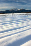 Lines in the snowy field. Stock Photo