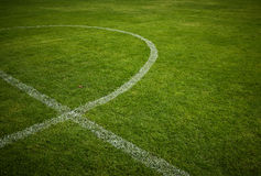 Lines on soccer field. Green grass Royalty Free Stock Images