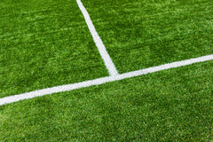 Lines on soccer football field Stock Photo