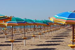 Lines of sunshades Stock Photo