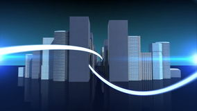 Lines swirling with cityscape background royalty free illustration