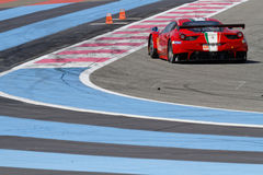 Lines on the track and a Ferrari F458 Italia Royalty Free Stock Photography